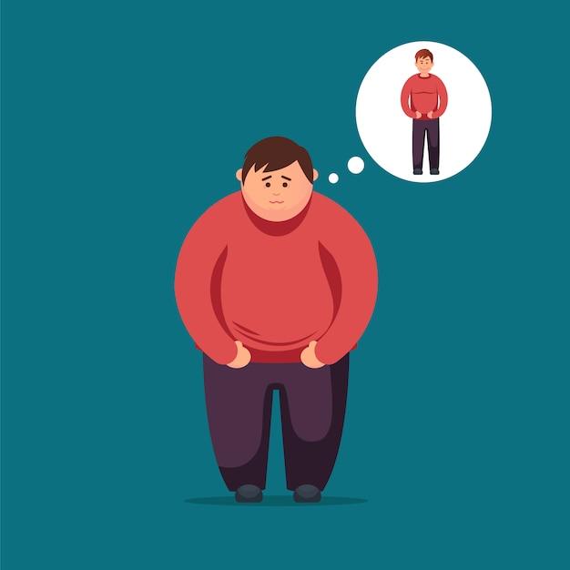 Gros homme rêve de perdre du poids. Vecteur Premium