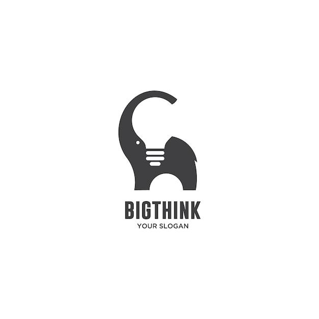 Gros logo éléphant et bulbe think Vecteur Premium