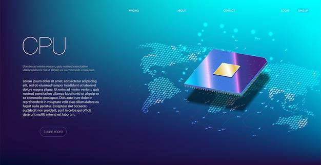 Gros Plan 3d Du Processeur Pour La Conception Web. Processeur De Communication Intégré. Vecteur Premium