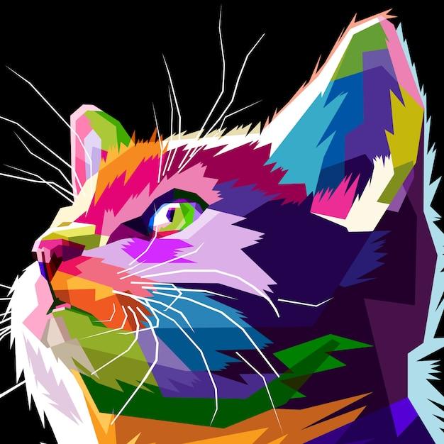 Gros plan du chat cool Vecteur Premium