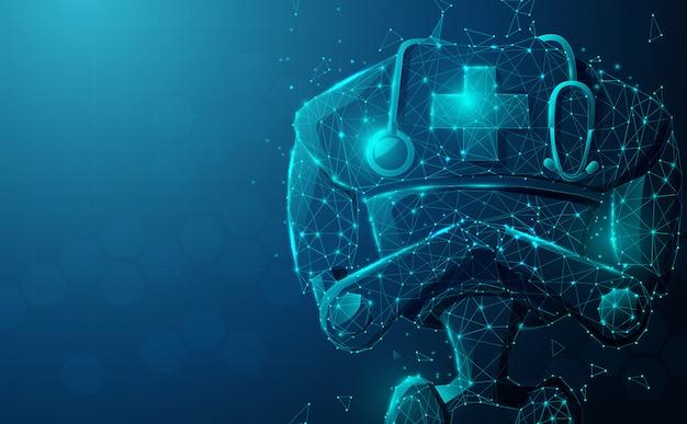 Gros Plan Du Robot Médecin Avec Stéthoscope. Intelligence Artificielle, Ia. Vecteur Premium