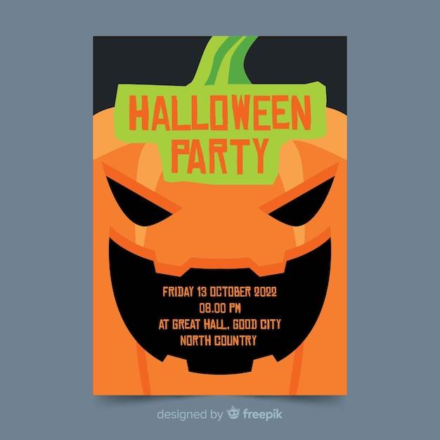 Gros plan flyer plat de fête d'halloween Vecteur gratuit