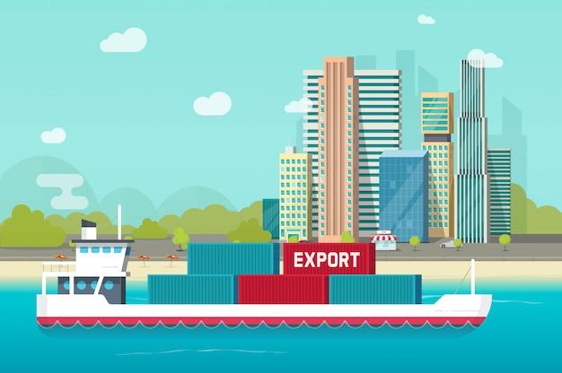 Gros porte-conteneurs naviguant dans l'océan ou navire de transport dans le port de mer avec beaucoup de conteneurs Vecteur Premium