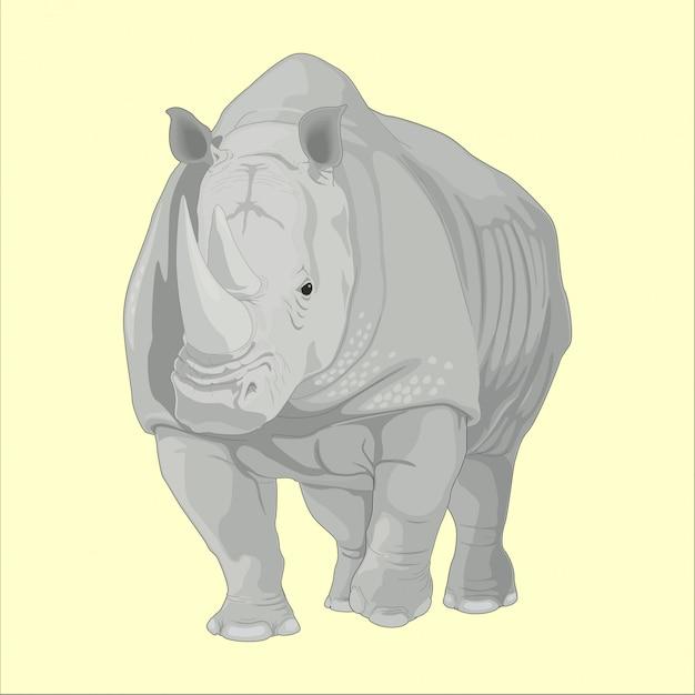 Gros rhinocéros sauvage Vecteur Premium