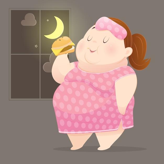 La grosse femme mange beaucoup de malbouffe Vecteur Premium