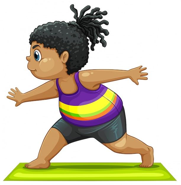 Une grosse fille faisant du yoga Vecteur gratuit