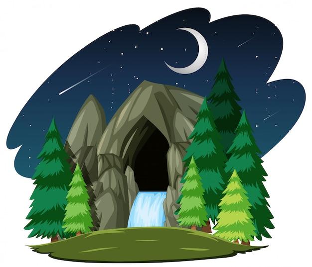 Grotte De Pierre Dans La Scène De Nuit Isolée Sur Fond Blanc Vecteur gratuit