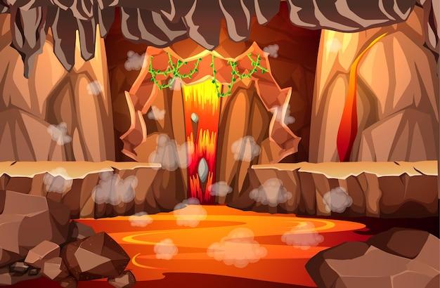 Grotte Sombre Infernale Avec Scène De Lave Vecteur gratuit