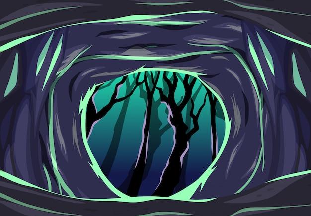 Grotte Sombre Avec Une Scène De Style Dessin Animé D'arbre Sombre Vecteur gratuit