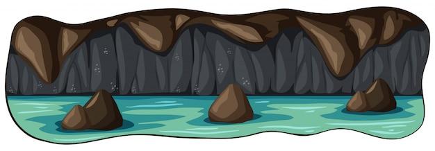 Une grotte sous-marine effrayante de la rivière Vecteur gratuit