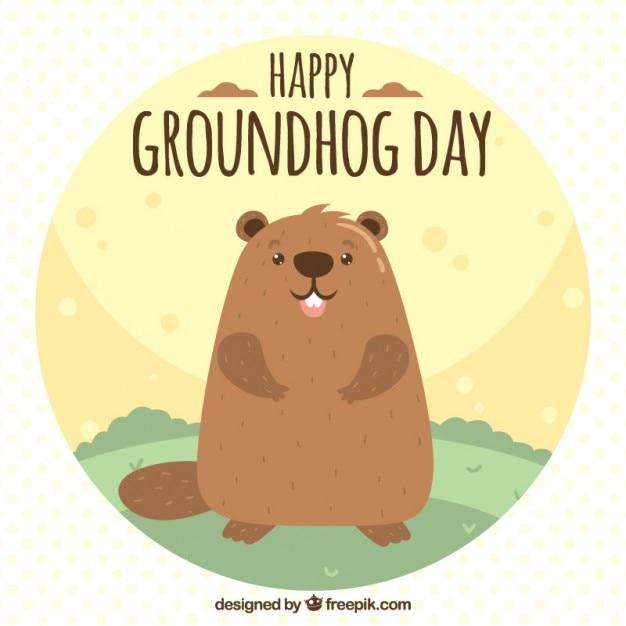 Grounghog illustration jour Vecteur gratuit