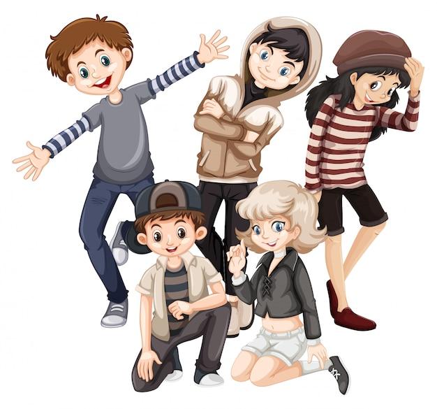 Groupe d'adolescents heureux Vecteur Premium