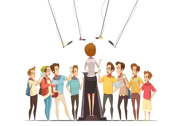 Groupe d'adolescents avec smartphones et tablettes enregistrant la présentation de la porte-parole en illustration vectorielle de jeunesse centre cartoon rétro Vecteur gratuit