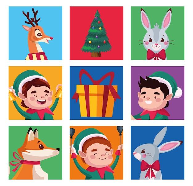 Groupe D'aides De Santa Avec Illustration De Personnages Animaux Vecteur Premium