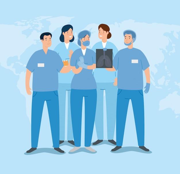 Groupe D'ambulanciers Paramédicaux Avec Radiographie Des Poumons Vecteur gratuit