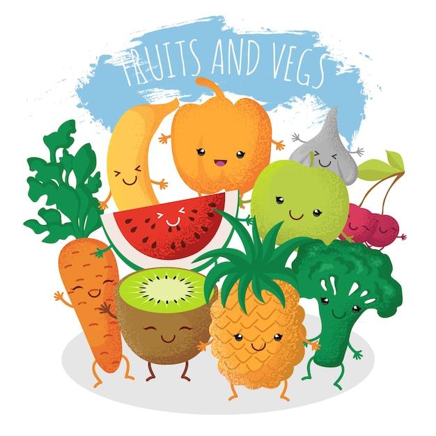 Groupe d'amis drôles de fruits et légumes. personnages avec des visages souriants heureux Vecteur Premium