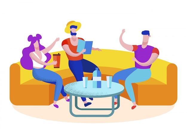 Groupe d'amis touristes visitant un café, loisirs Vecteur Premium