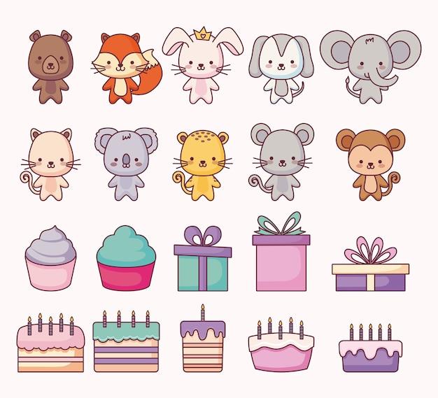 Groupe d'animaux mignons et set d'icônes Vecteur Premium