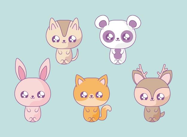 Groupe d'animaux mignons style bébé kawaii Vecteur Premium