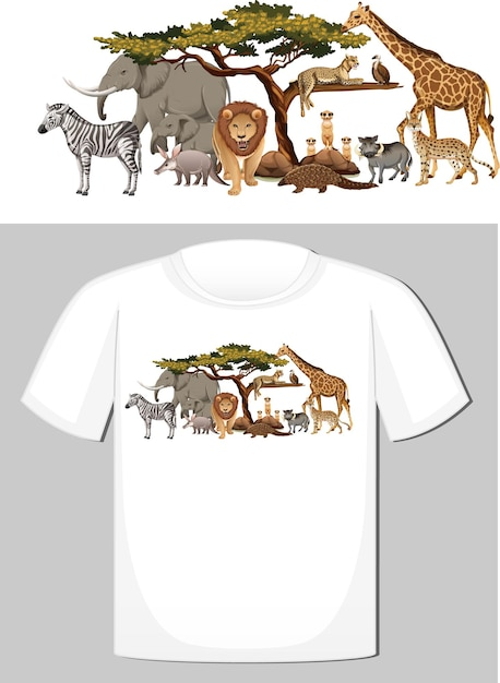 Groupe D'animaux Sauvages Pour T-shirt Vecteur gratuit