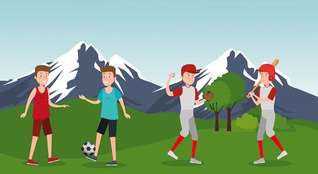 Groupe D'athlètes Pratiquant Des Sports Sur Le Parc Vecteur gratuit