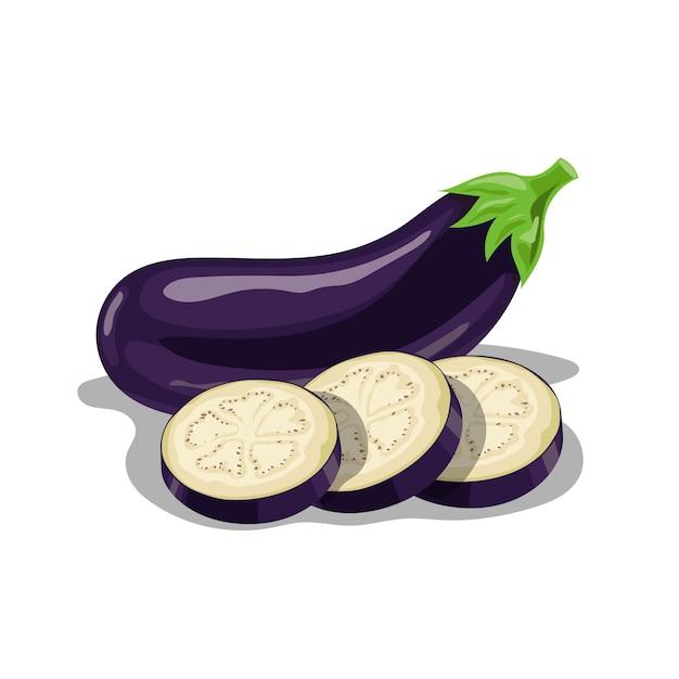 Groupe D'aubergines Fraîches En Style Cartoon. Légumes Entiers Violette Fraîche Et Tranches Rondes D'aubergine. Ferme Fraîche. Illustration Sur Fond Blanc. Vecteur Premium