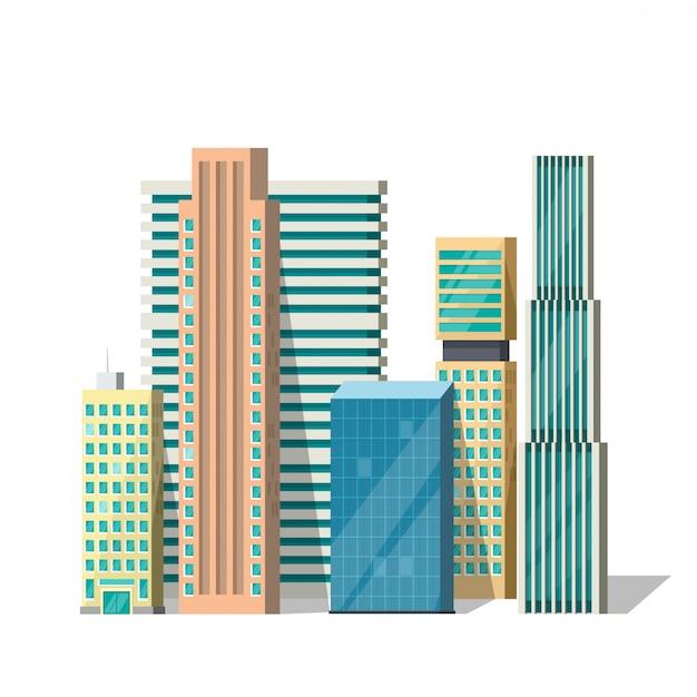 Groupe de bâtiments Vecteur Premium