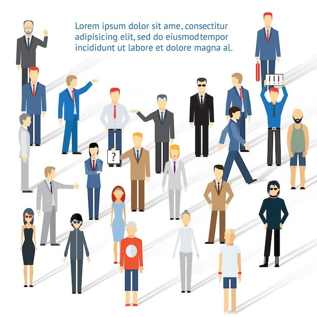 Groupe Bondé De Personnes, Hommes Et Femmes. Concept De Coopération Et De Travail D'équipe. Vecteur gratuit
