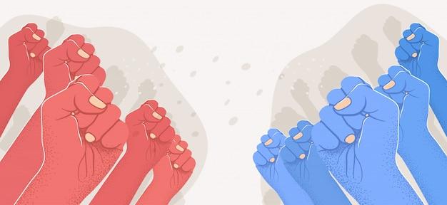 Groupe De Bras Rouges Levés Contre Groupe De Bras Levés Bleus. Opposition, Confrontation, Contre Concept. Gauche Vs Droite. Vecteur Premium