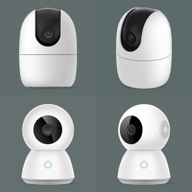 Groupe De Caméras De Sécurité Cctv Intelligent Isolé Vecteur Premium