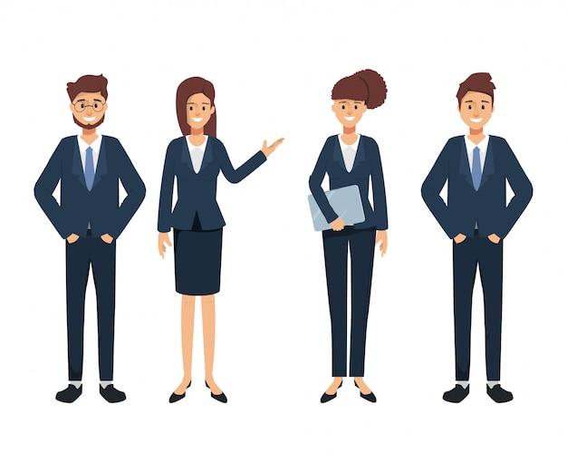 Groupe de caractère de gens d'affaires. séminaire en entreprise. travail d'entreprise de travail d'équipe. Vecteur Premium