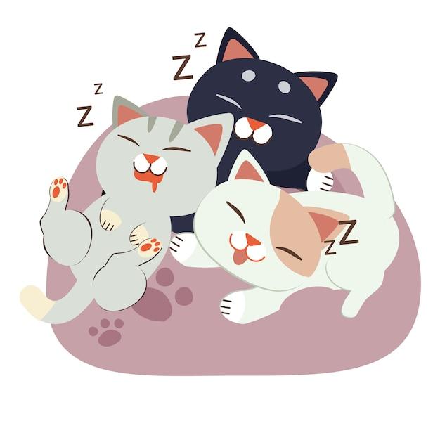 Un groupe de chat de caractère mignon dormant sur le pouf Vecteur Premium