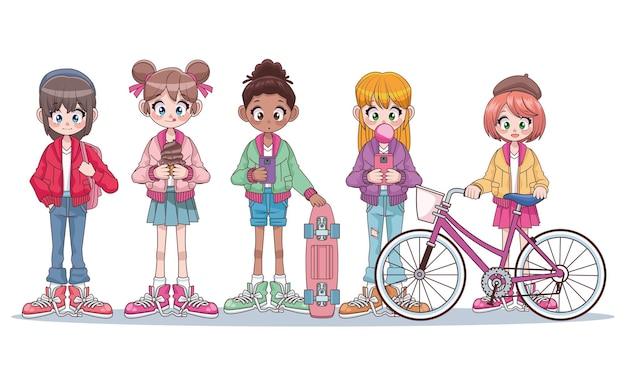 Groupe De Cinq Belles Filles Adolescentes Interracial Illustration De Personnages Anime Vecteur Premium