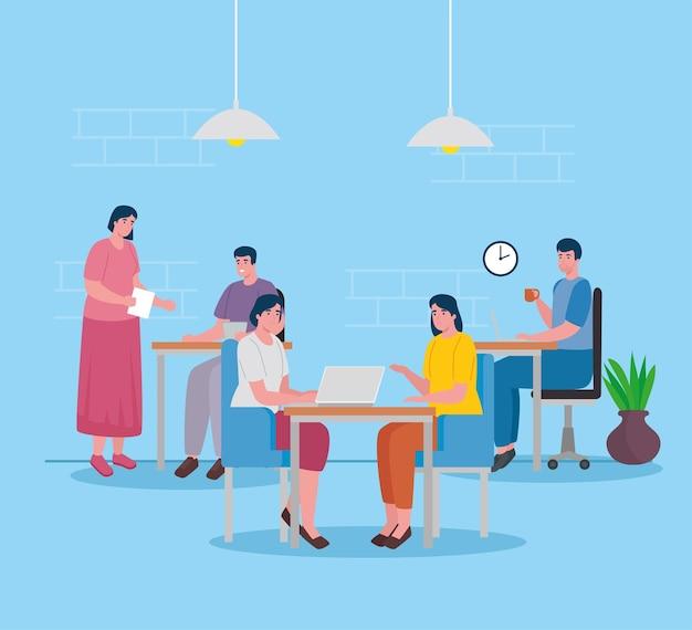 Groupe De Cinq Travailleurs Travaillant Dans Les Personnages De Bureau Vecteur Premium