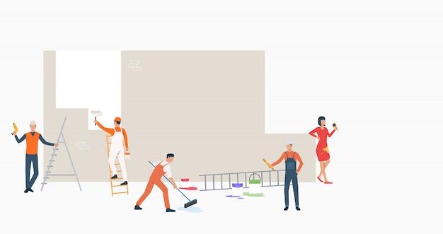 Groupe De Constructeurs Avec Des Outils De Peinture Bannière Murale Vecteur gratuit