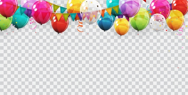 Groupe De Couleur Ballons à L'hélium Brillant. Ensemble De Ballons Pour Anniversaire, Décorations, Décorations De Fête. Vecteur Premium