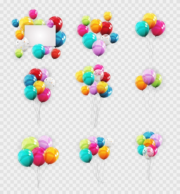 Groupe de couleur hélium brillant Vecteur Premium