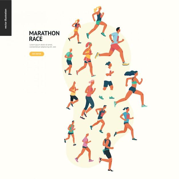 Groupe De Course Marathon Vecteur Premium