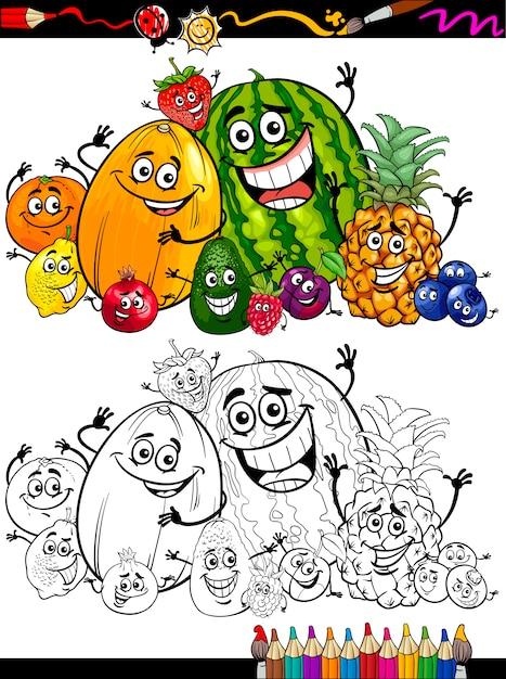 Coloriage Paprika Dessin Anime.Groupe De Fruits De Dessin Anime Pour Livre De Coloriage