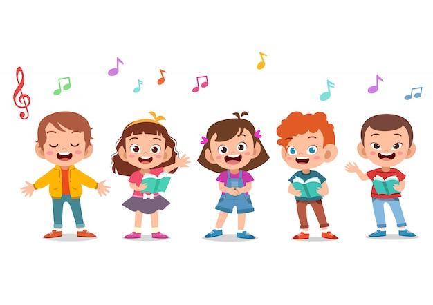 Groupe De Dessin Animé D'enfants Chantant Dans La Chorale De L'école Vecteur Premium