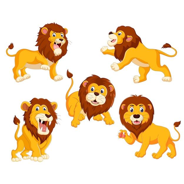 Un groupe de dessin animé de lion Vecteur Premium