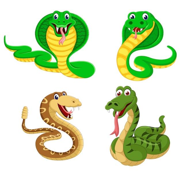 Un groupe de dessin animé de serpent Vecteur Premium