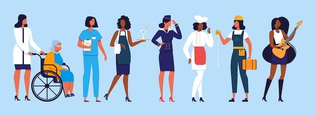 Groupe diversifié de femmes internationales et interraciales Vecteur Premium