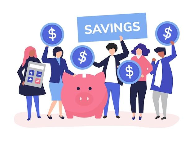 Groupe diversifié de personnes et illustration de concept d'épargne Vecteur gratuit