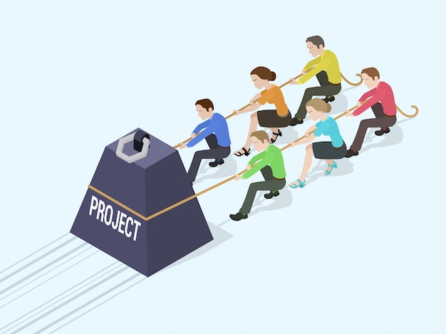 Groupe d'employés de bureau poussant le poids géant avec l'inscription du projet Vecteur Premium