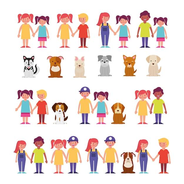 Groupe d'enfants avec animaux domestiques Vecteur gratuit
