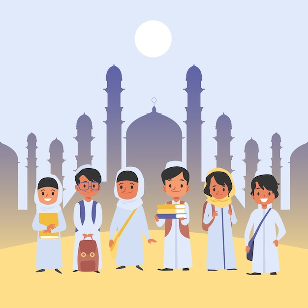 Groupe D'enfants Arabes Se Tient Dans Des Vêtements Traditionnels Avec Style De Dessin Animé De Sacs D'école, Sur Fond Plat Avec Temple Musulman. Heureux écoliers Tenant Des Sacs à Dos Et Des Livres Vecteur Premium