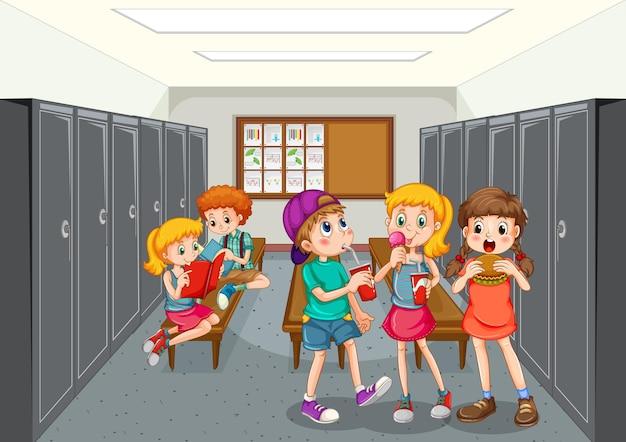 Groupe D'enfants Au Vestiaire Vecteur gratuit
