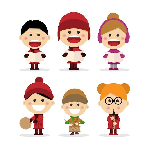 Groupe d'enfants chantant des chants de noël Vecteur Premium