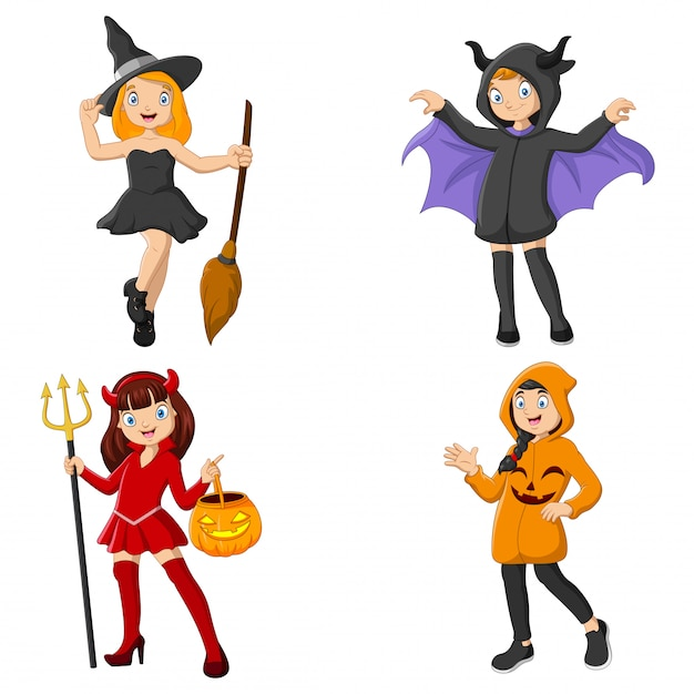 Groupe d'enfants de dessins animés portant des costumes différents Vecteur Premium